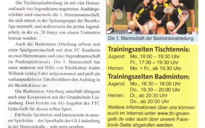 Badminton: 1. Mannschaft in den Südnachrichten